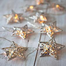 16er CADENA DE LUCES LED Estrella Metal Plata Navidad Decoración Iluminación