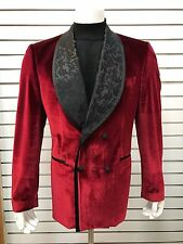 """Biarrelli Mens Red Double Breasted Blazer (Cigar Jacket) """"Size: L"""""""