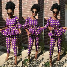 Woman top and high waisted pants veroex African anKara print with belt all size