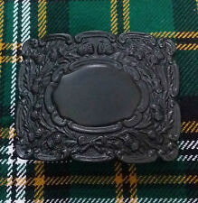 Mens Thistle Buckle For Kilts Black Chrome/Piper Kilt Belt Buckle Thistle Emblem