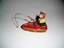 Peint Main Limoges Trinket Box- Bear Fishing On A Boat
