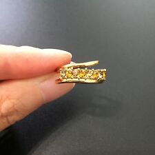& Yellow Cubic Zirconia Mother's Ring Gold Eight Stone Bypass Band Ring White