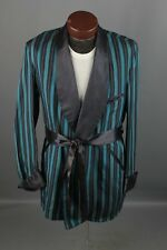 Vtg Men s 1950s Striped Satin Smoking Jacket sz M Long 50s Robe  6274 341890a58