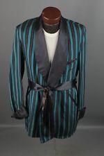 Vtg Men's 1950s Striped Satin Smoking Jacket sz M Long 50s Robe #6274