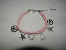 """PINK CHARM BRACELET STARS PEACE SIGNS HEARTS TEACHER CHRISTMAS GIFT! 6"""" to 8 1/2"""
