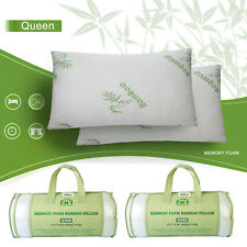 2 Pack Bamboo Memory Foam Bed Pillow Hypoallergenic Cool Comfort Queen Size US