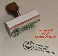 Smiley Face Rubber Stamp With Your Custom Address