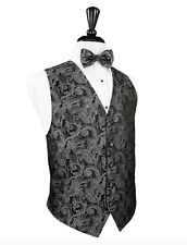 Silver Paisley Silk Tuxedo Vest and Pre Tied Bow Tie