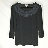 CHICO'S TRAVELERS Black Knit Top Size 1 Scoop Neck Womens Office Career Stretch