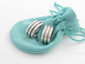 Tiffany & Co RARE Silver Wide Atlas Stripe Groove Hoops Clip On Earrings!