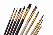 Pinsel Set 10 -tlg. Acryl Öl Wasser Farbe Profi Qualität Leinwand Basteln Malen