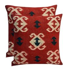 Handwoven 2 PC's wool Jute Rug Cushion Cover Vintage Outdoor Hippie Pillow cases
