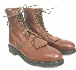 """Men's ARIAT 8"""" Safety Toe Work Boots Brown Lace Up (37380) Size 14D SH-118"""
