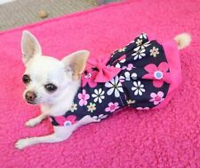 Handmade Dog Dress For Small Dogs - Pink Navy Floral - Puppy Chihuahua