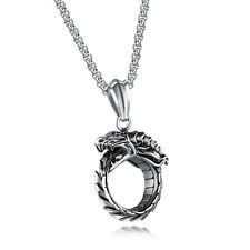 Mens Ouroboros Dragon Serpent Snake Infinity Pewter Pendant Necklace Chain 24""