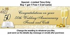 50th Wedding Anniversary Banner or Any Engagement Party Gold Glasses and Rings