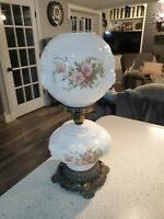 Gone With The Wind Phoenix Glass 3 Way Hurricane Parlor Lamp rose Embossed