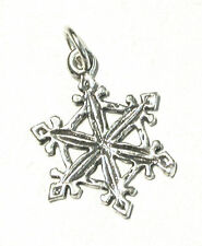 .925 STERLING SILVER CHARM Christmas Winter Snow SNOWFLAKE