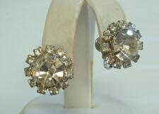 Sparkling & HUGE 4 Carat Diamante Ice Clear Rhinestone Vintage Earrings ELEGANT!
