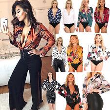 Women Ladies Floral Print Tuxedo Wrap Over Satin Bodysuit Leotard Blouse Top