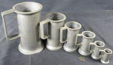 6 Antique Pewter Tankard Mug Measurine Set 3 Different Marks AP GG RG