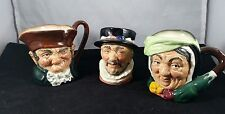 3 Small Royal Doulton Vintage Character Jugs, Beefeater, Old Charley and Sairey