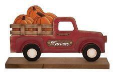 "'Harvest' Red Truck w/Pumpkins Desk Plaque Autumn Fall Home Decor 12.5"" NEW"