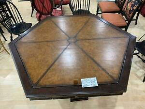 Frontgate Gaming Table With Leather Top and 4 Leather Chairs on Casters
