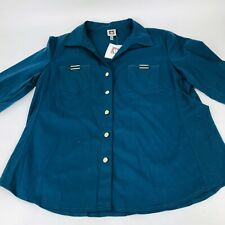 Anne Klein Perfect Fit Button Front Shirt Deep Teal Roll Tab Sleeve Women L New