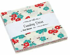 """Sunday Drive Moda Charm Pack 42 100% Cotton 5"""" Precut Quilt Squares by Pat Sloan"""