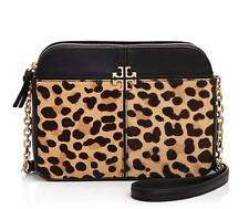 NWT Tory Burch Ivy Leopard Calf Hair Black Leather Cross Body Handbag RARE $495