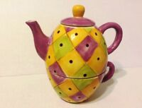 Ceramic Teapot and Tea Kettle Combo