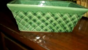 McCoy green  quilted pattern planter