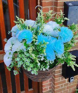 Artificial Hanging Basket Carnations Flowers Ivy Leaf Fern Foliage Plant Blue