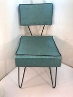 Vtg 1950's Mid-Century Aqua Blue Naugahyde Black Metal Legs Child's Chair Seat