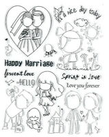 HAPPY MARRIAGE Clear Stamp Set - Scrapbooking Stamping SALE