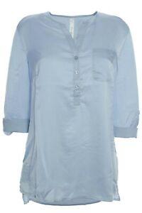 sheego Tunika Shirt Bluse Damen Langarm Lagenlook Hellblau Größe 44 46 48