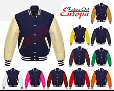Varsity Navy Blue Letterman Wool Jacket with Real Leather Sleeves XS-4XL