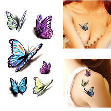 Fashion Removable 3D Butterfly Tattoo Sticker Temporary Body Art Tatoo 5 Sheet