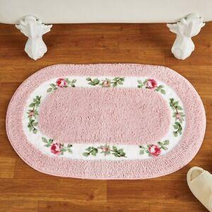 Lovely Pine Rose Vine Border Valentines Day Bath Mat with Non-Slip Rubber Back