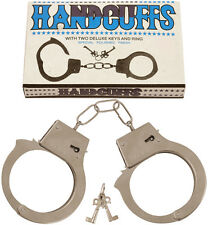 Silver Metal Handcuffs With Keys Police Stag Hen Fancy Dress Accessory P8400