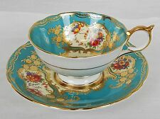 Aynsley Tea Cup And Saucer Floral Design / Gold Embellishment on Turquoise