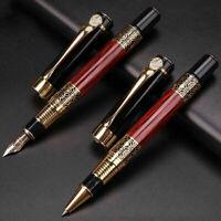 Luxury Metal Pen Steel Ink Fountain Pen Business Writing Roller Ballpoint Pens