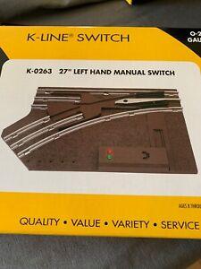 NIB K-Line Electric Trains K-263 O-27 Gauge Manual Control Switch Left Hand