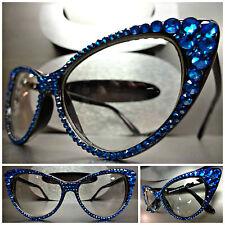 Women's VINTAGE 60's CAT EYE Style Clear Lens EYE GLASSES Blue Crystals Handmade