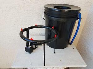 "Aeroponic DWC Bubbler Bucket - Aero-Hydroponics Growing System 6"" Net Cup Lid"