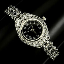 Sterling Silver 925 Antique Design Genuine Marcasite Watch 71/4 Inches