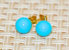14k yellow gold blue turquoise ball push back stud earrings 7mm