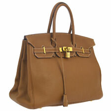 HERMES BIRKIN 35 Hand Bag Brown Veau Crispe Togo Authentic AK31828d