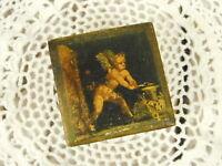 "Vintage Gold Pink Italian Florentine Lid Wood Trinket Box Cherub Angel 2.5""X2.5"""